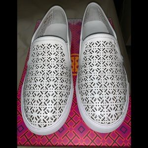 Tory Burch White Leather White Slip On Sneaker